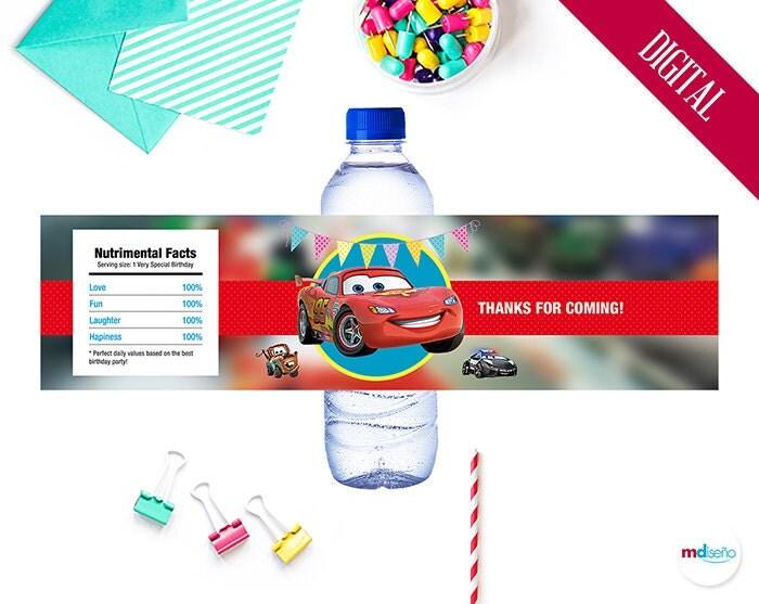 Etiqueta botella agua cars fiesta cars cumplea os decoraci n - Casa del agua cumpleanos ...