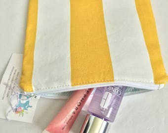 Makeup Bag Yellow White Nautical Flat Bag Cosemtic Pouch, Handmade Make Up Pouch for Purse Small Toiletry Bag Small Flat Makeup Bag Monogram