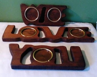 Vintage We love you picture frames or I love you for small pictures, wooden 1980s