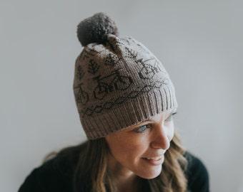 Wool Knit Hat with Bicycles, Pom Pom Hat, Warm Winter Hat, Fair Isle Toque, Winter Beanie with Pom Pom, Knit Bicycle Hat, Knit Bike Beanie