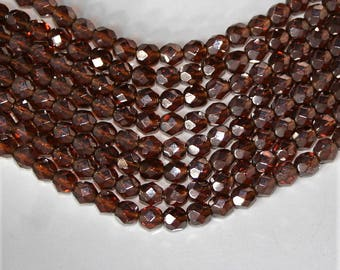 Firepolished Bead 6mm - Luster Smoky Topaz