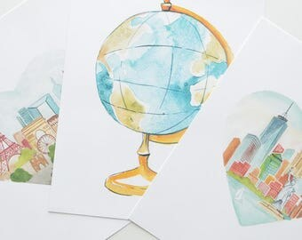 Globe Art Print, hand painted art print, travel art
