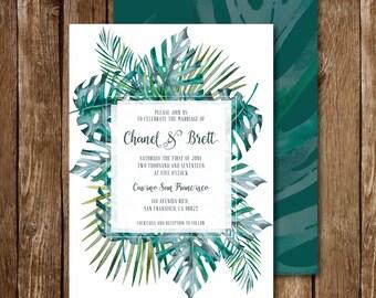 Tropical Greens Wedding Invitation