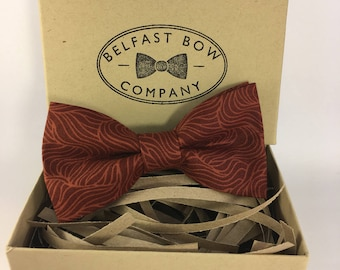 Handmade Bow Tie in Rust Print - Adult & Junior sizes available