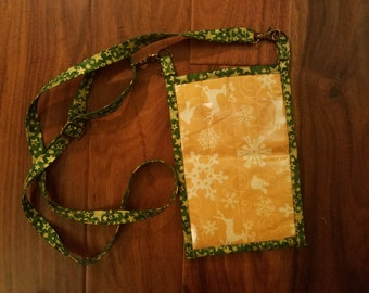 Yellow Reindeer and Green Snowflake Holiday Pocket Purse