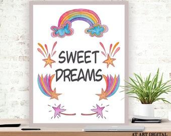 Printable Art, Sweet Dreams, Nursery Print, Instant Download, Nursery Wall Art, Printable Nursery, Typography Print, Nursery Quote Print