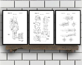 Space Patents Set of 3 Prints, Space Prints, Space Posters, Space Blueprints, Space Art, Space Wall Art, Space Prints, Space Art