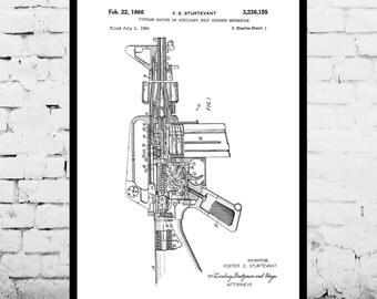 M-16 Rifle Print, M-16 Rifle Poster, M-16 Rifle Patent, M-16 Rifle Art, M-16 Rifle Decor, M-16 Rifle Wall Decor, M-16 Rifle Blueprint p198