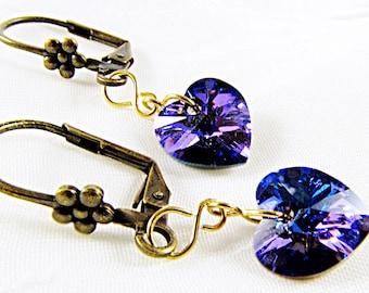 Girlfriend Purple Earring, Wife Romantic Earring, Girlfriend Small Earring, Tiny Earring for Her, Wife Small Earring, Girlfriend Romantic