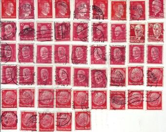 50 FRANCOBOLLI USATI x DECOUPAGE, Germania, tono del rosso