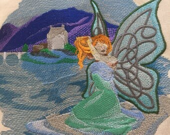 Embroidered tote bag , book bag, reusable shopping bag, fairy by the water embroidered fairy