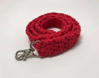 Red Crochet Lanyard, Crochet Lanyard, Handmade Cotton Lanyard, Gift for Her, Teacher Gift, ID Holder, Keys, Crochet Key Holder