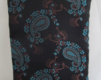 Brocade Tarot Card Bag Black and Teal Paisley with Teal Satin Lining and Zipper Dice Makeup Pouch Fancy