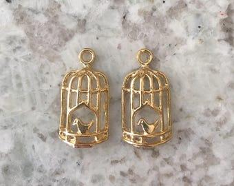 Caged Bird Charm // Crown \\ 14k \\ 22k \\ Gold Filled over Brass