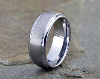 Tungsten Carbide, Wedding Band, Brushed, 8mm, Domed Stepped Edge, Tungsten Wedding Band, Tungsten Wedding Ring, Anniversary Band, Engraved