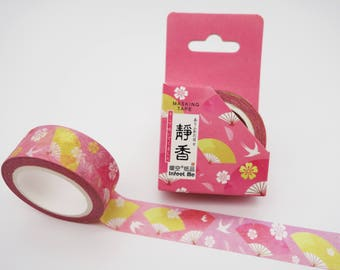 Japanese fan & swallowtail washi tape, bird masking tape, cute pink planner tape, kawaii washi tape, Japan deco tape, Asian decorative tape