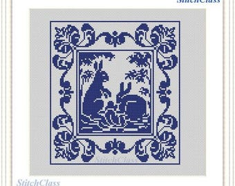 Two rabbits Cross Stitch Pattern PDF monochrome Bunny hare crossstitch patterns Reconstructed according to old tapestry antique style filet