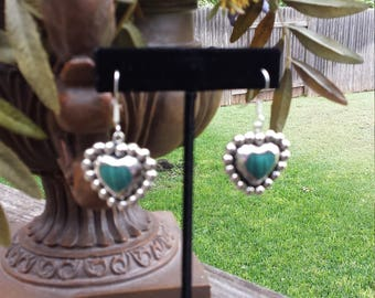 sterling silver malachi heart dangle earrings