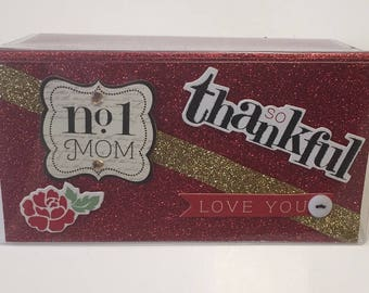 No 1 MOM; So Loved, So Thankful - Vinyl Checkbook cover,Scrapbook style,Duplicate or Single Checks, Ready to Ship, One of a Kind