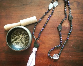 Balance Prayer Mala Necklace with Amethyst, Smokey Quartz, Lava stone, and Clear Quartz crystal beads. Agate guru bead.