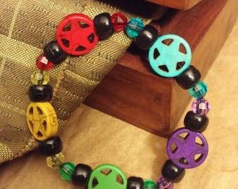 Stone Pentacle bead bracelet - Five elements Air, Earth, Water, Fire & Spirit