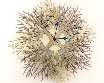 """Wooden wall clock """"TREES two colors version"""""""