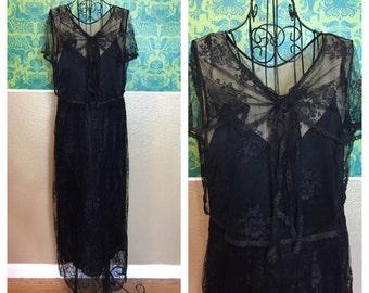 Vintage 1920s Dress - Black & White Silk Lace Dress - S M