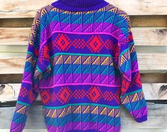 Vintage 90s Funky Rainbow Geometric Pattern Turtle Neck Sweater Size Large