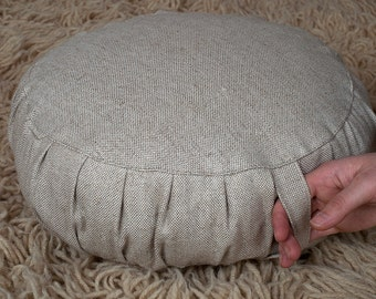 """Wool-Filled Zafu / Meditation Cushion / cover: cotton and linen blend fabric / 5"""" thick / with handle and zipper / Custom sizes on request"""