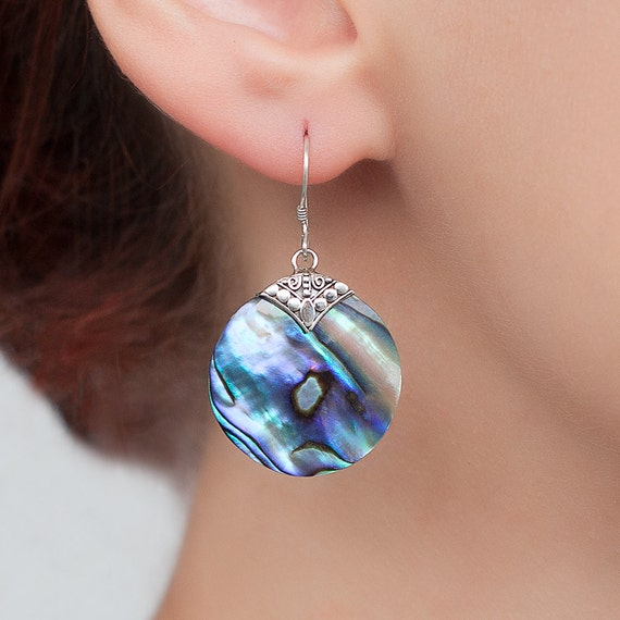 Abalone shell earrings with Sterling silver.