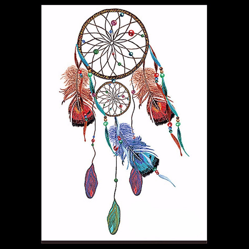 Color art dreamcatcher - Feather Tattoo Dreamcatcher Tattoo Tribe Color Tattoo Design Body Art Temporary Tattoo Large Temporary Fake Tattoo Sticker