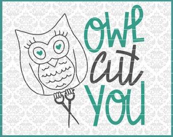 CLN0442 Owl Cut You Hairstylist Scissors Stylist Barber SVG DXF Ai Eps PNG Vector Instant Download COmmercial Cut FIle Cricut SIlhouette
