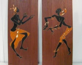 Pair of Mid Century Modern Black Dancers on Walnut Panel Wall Art
