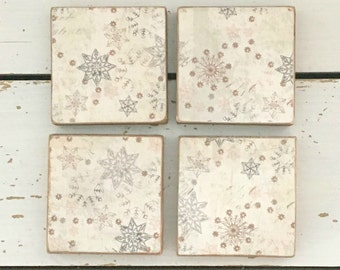 Wood Drink Coasters, Wood Coasters decorated with Snowflakes, Wood Coaster Sets, Home Decor, Christmas Tableware, Wood Coaster, Kitchen