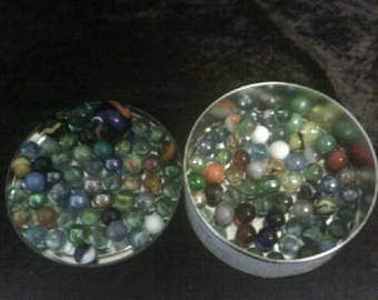 Vintage Marbles Assorted Colours In Tivoli Tin