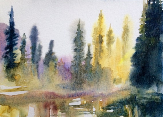 Watercolor trees, Misty trees, pine trees, Misty pines, Conifers, Pacific Northwest, forest, national parks