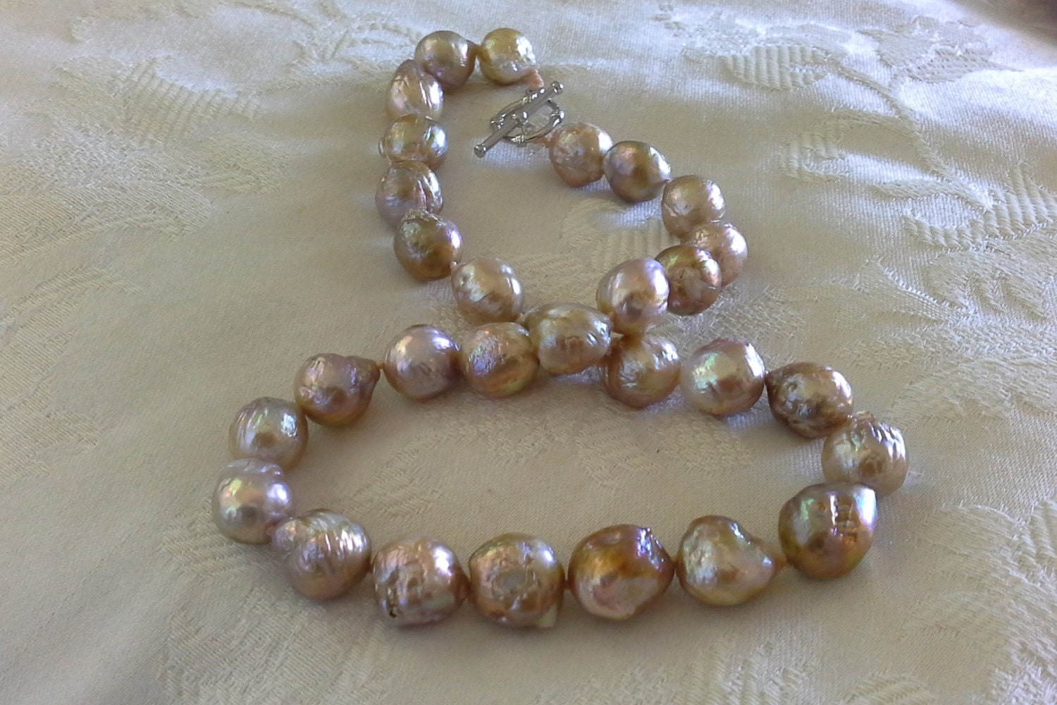 18 Inch 12 To 16 Mm A Grade Graduated Freshwater  Baroque Edison Pearl Necklace