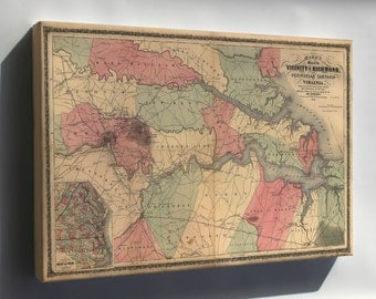 Canvas 24x36; Map Of The Vicinity Of Richmond, Virginia 1862
