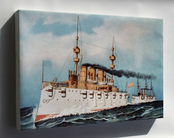 Canvas 24x36; Armored Steel Cruiser New York, 1893 Currier And Ives