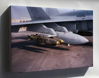 Canvas 24x36; Fa-18C Hornet F-18 Vmfa-235 Death Angels Desert Storm 1991
