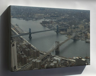 Canvas 24x36; Brooklyn Bridge And Manhattan Bridge  1982