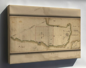 Canvas 24x36; Map Of Crown Point & Part Of Lake Champlain 1768