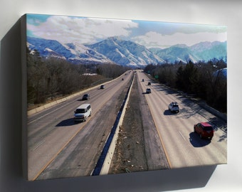 Canvas 24x36; Interstate 80 At The 1700 South Overpass In Salt Lake City Eastbound 01