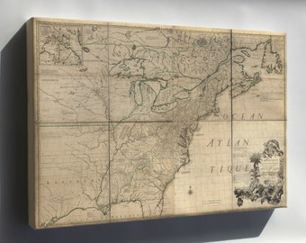 Canvas 24x36; Map Of North America & United States  1792