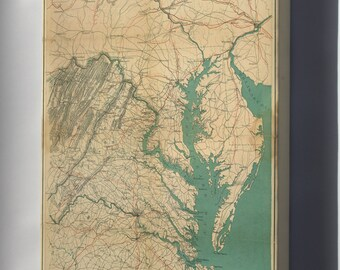 Canvas 16x24; Map Of Eastern Virginia, 1862 P2