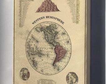 Canvas 16x24; Map Of Western Hemisphere 1877