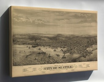 Canvas 16x24; Bird'S Eye View Map Of The City Of Seattle, Puget Sound, Washington Territory, 1878