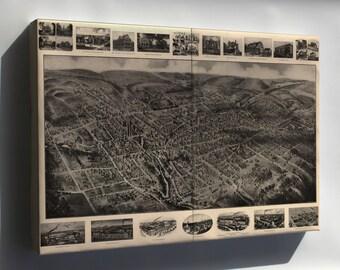 Canvas 16x24; Birdseye View Map Of Bristol, Connecticut 1907