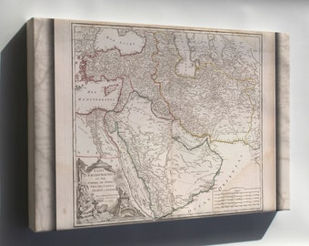 Canvas 16x24; Map Of Middle East Persian Empire 1740 In French