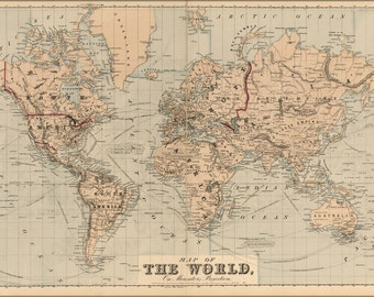 16x24 Poster; Map Of The World 1875